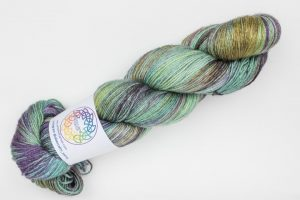 BFL-Silk 4-ply 150g - green, purple and bronze