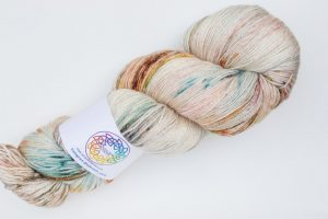 BFL-Silk 4-ply 150g - turquoise, purple ad bronze