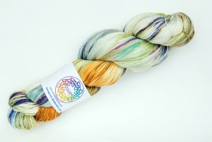 BFL-Silk 4-ply 100g - natural with orange, blue, purple and speckles