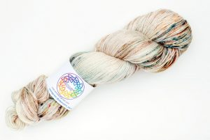 BFL-Silk 4-ply 100g - cream with rust and teal speckles