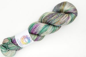 BFL-Silk 4-ply 100g - green, purple and beige