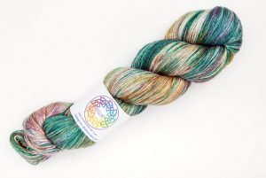 BFL-Silk 4-ply 100g - green, purple and bronze