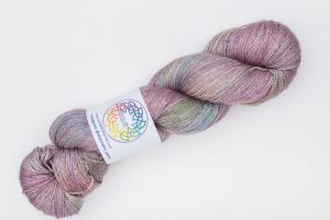 BFL-Silk Fine Lace-weight Amy - muted purple, green and bronze