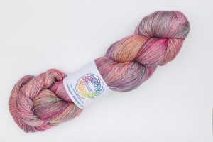 BFL-Silk Lace weight dark pink, orange and purple