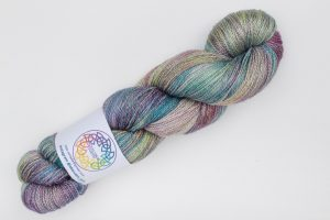 BFL-Silk Lace weight Harris with a Twist - muted teal, purple, green and bronze