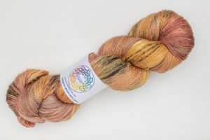 BFL-Silk Lace weight Ember - orange and pink with dark speckles