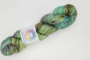 BFL-Silk Lace weight Ailsa - green, turquoise and purple