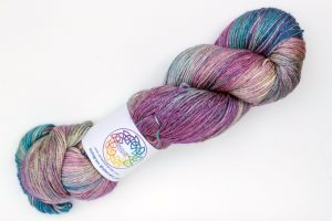 Merino-silk-cashmere 70-20-10 4-ply Sian - purple, pink, teal and gold-green
